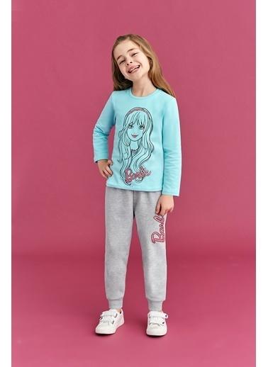 Barbie Barbie Lisanslı Kız Çocuk Eşofman Takımı Açık Gri Mavi